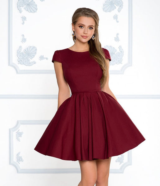 Short Sleeves Short Navy Blue Red Burgundy Prom Dresses, Short Sleeves Short Graduation Homecoming Formal Dresses