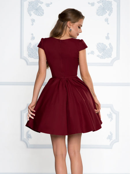 Short Sleeves Short Navy Blue Red Burgundy Prom Dresses, Short Sleeves Short Graduation Homecoming Formal Dresses Back