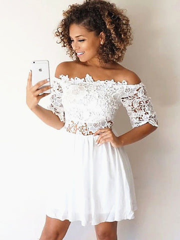 Short Sleeves Short White Lace Prom Dresses, Short White Lace Formal Homecoming Graduation Dresses