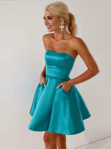 Short Strapless Prom Dress with Pockets, Short Formal Homecoming Dresses with Pocktes