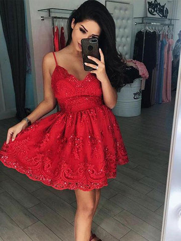 Short V Neck Red Lace Prom Dresses, Red V Neck Short Red Lace Formal Homecoming Dresses