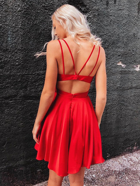 Short V Neck Red Prom Dress with Corset Back, Short Red Cocktail Graduation Homecoming Dresses