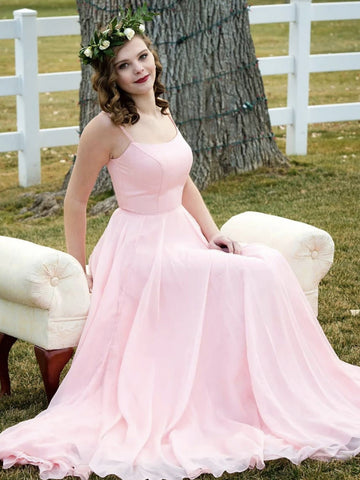 Simple Double Straps Pink Long Prom Dresses, Pink Long Formal Evening Dresses