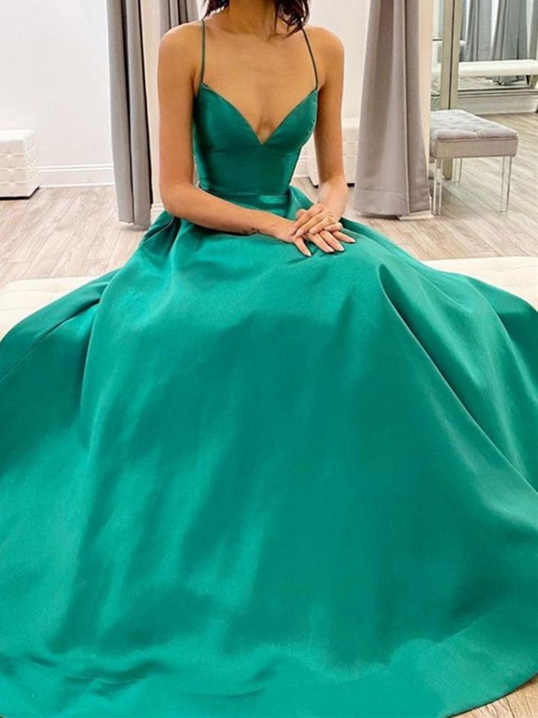 Simple Green V Neck Satin Long Prom Dresses, V Neck Green Satin Long Formal Evening Dresses