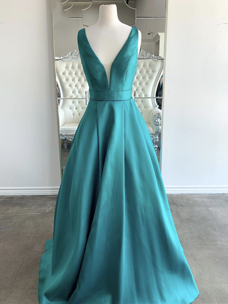Simple V Neck Green Satin Long Prom Dresses, Backless Green V Neck Satin Formal Evening Dresses