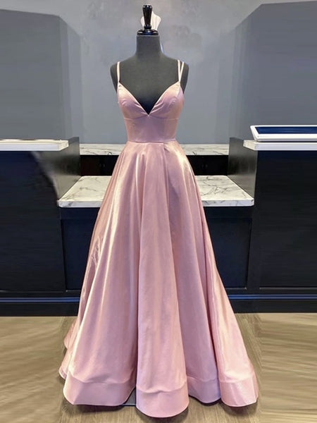Simple A Line V Neck Pink Satin Long Prom Dresses, V Neck Pink Formal Evening Dresses