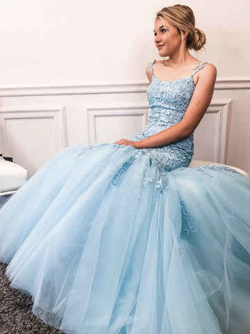 Sky Blue Mermaid Lace Prom Dresses, Blue Mermaid Lace Formal Evening Dresses