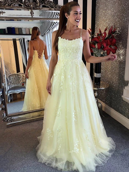 Spaghetti Straps Backless Yellow Lace Prom Dresses, Open Back Yellow Lace Formal Evening Dresses 2