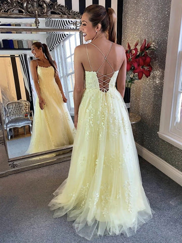 Spaghetti Straps Backless Yellow Lace Prom Dresses, Open Back Yellow Lace Formal Evening Dresses