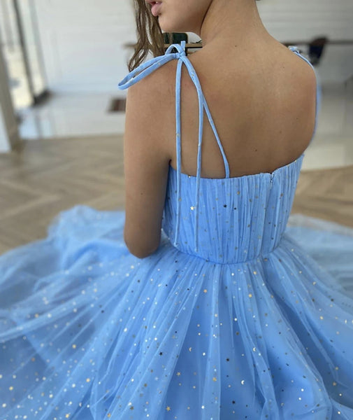 Spaghetti Straps Blue Tea Length Tulle Prom Dresses, Blue Tea length Formal Homecoming Dresses