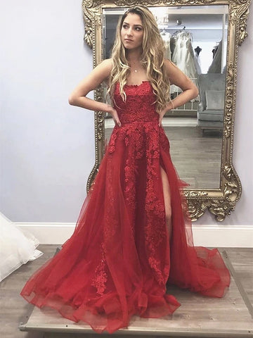 Spaghetti Straps Burgundy Long Lace Prom Dresses, Wine Red Thin Straps Lace Formal Evening Dresses
