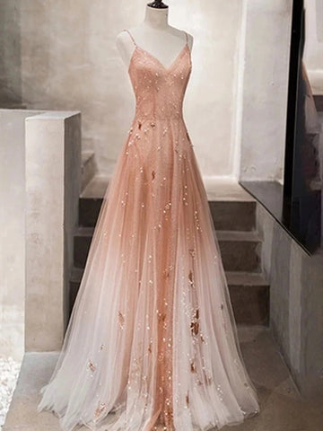 Spaghetti Straps Champagne Tulle Long Beaded Prom Dresses, A Line V Neck Champagne Formal Evening Dresses