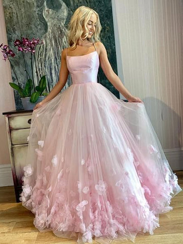 Spaghetti Straps Pink Tulle Floral Long Prom Dresses, Pink Tulle Long Flower Formal Evening Dresses