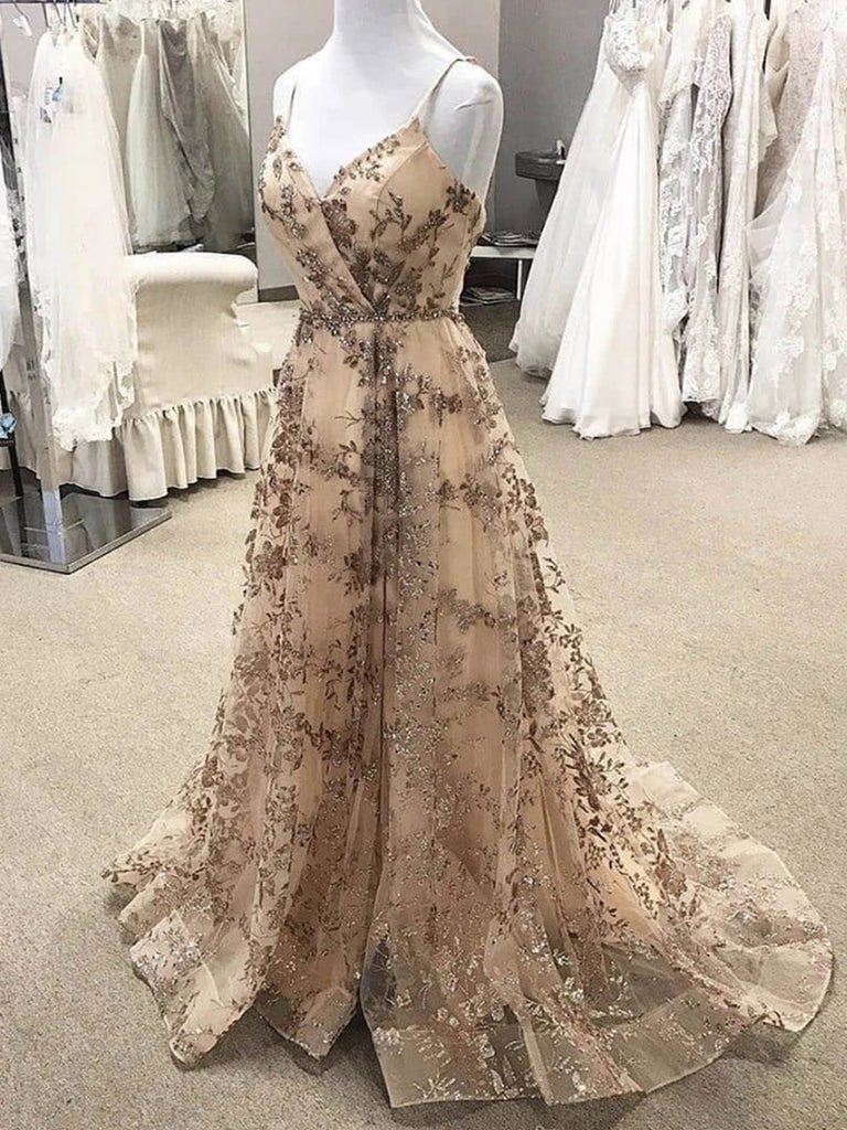 Spaghetti Straps Sweetheart Neck Champagne Long Lace Prom Dresses, Champagne Long Formal Evening Dresses