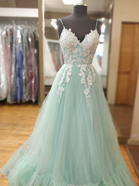 Spaghetti Straps V Neck Mint Green Lace Prom Dresses, Mint Green Lace Formal Evening Dresses