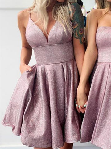Spaghetti Straps V Neck Short Prom Dresses, Short V Neck Formal Homecoming Dresses