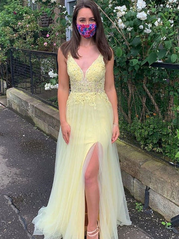 Spaghetti Straps V Neck Yellow Lace Prom Dresses, Open Back Yellow Lace Formal Evening Dresses