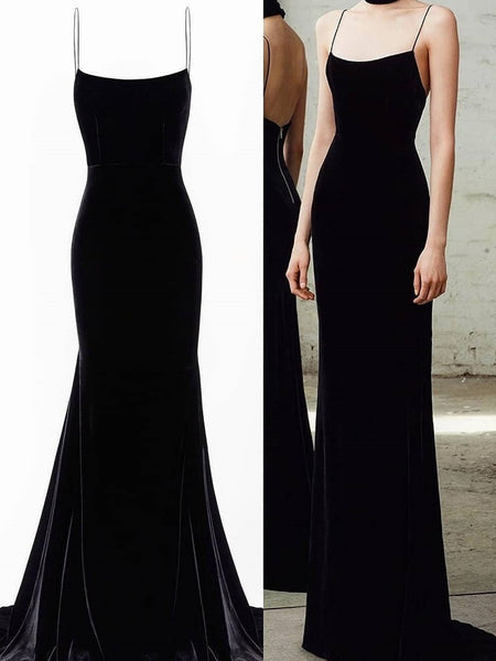 Spaghetti Straps Black Mermaid Long Prom Dresses, Black Mermaid Long Formal Evening Dresses