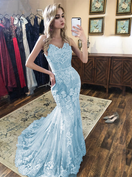 Spaghetti Straps Mermaid Blue Lace Prom Dresses, Mermaid Blue Lace Formal Evening Dresses