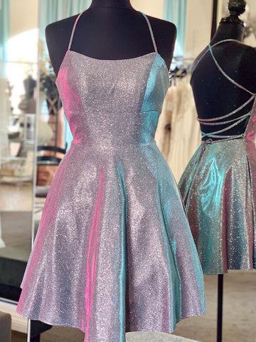 Sparkle Criss Cross Short Purple Prom Dresses, Shiny Short Purple Formal Homecoming Dresses