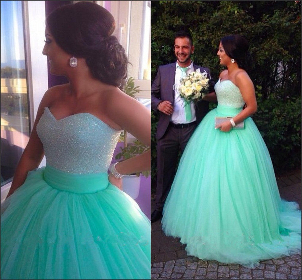 Sweetheart Neck Sweep Train Ball Gown, Green Prom Dresses – jbydress