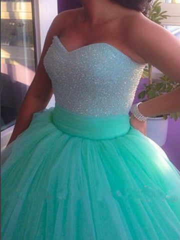 Sweetheart Neck Sweep Train Ball Gown, Green Prom Dresses