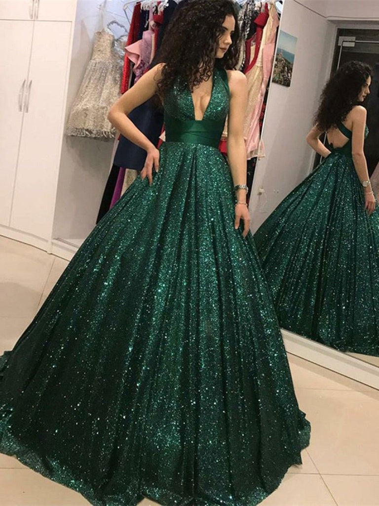 Sparkly A Line V Neck Open Back Dark Green Prom Dress, Backless Green Long Formal Evening Dresses