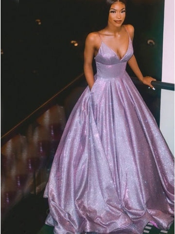 Sparkly A Line V Neck Purple Long Prom Dresses, Shiny Purple Long Formal Evening Dresses