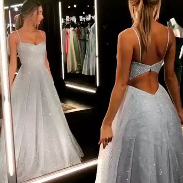 Sparkly Silver Gray Open Back Long Prom Dresses, Silver Gray Long Formal Evening Dresses