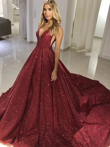 Sparkly V Neck Burgundy Champagne Long Prom Dresses with Train, Shiny Long Formal Evening Dresses