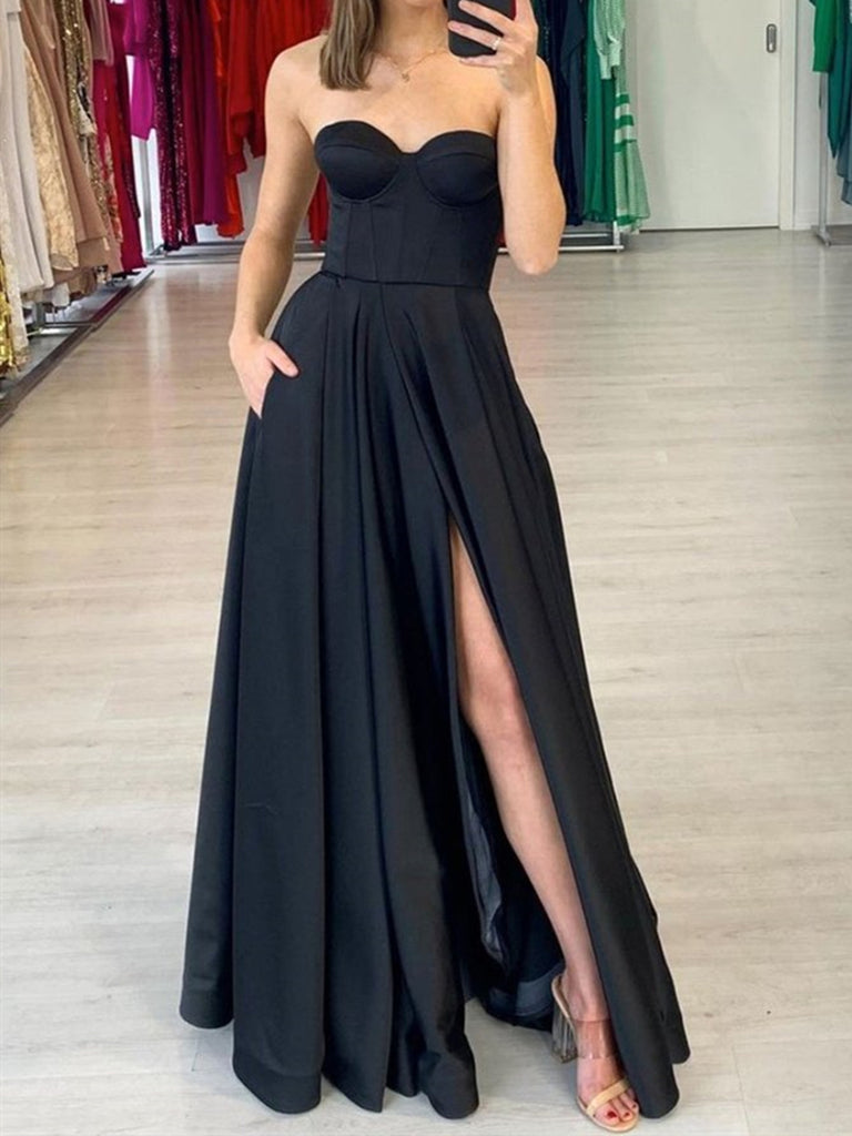 Strapless Black Satin Long Prom Dresses, Black Satin Long Formal Evening Dresses
