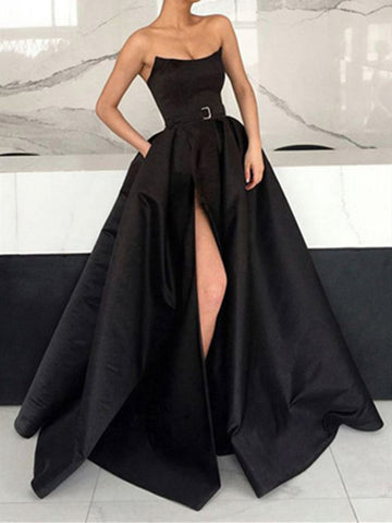 Strapless Black Satin Long Prom Dresses with High Leg Slit, Black Satin Long Formal Evening Dresses