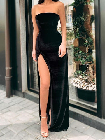 Strapless Black Velvet Long Prom Dresses, Black Velvet Long Formal Evening Dresses