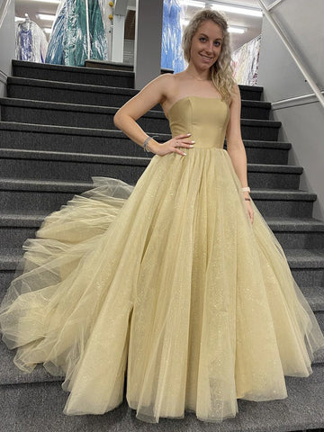 Strapless Champagne Tulle Prom Dresses, Champagne Tulle Formal Evening Dresses