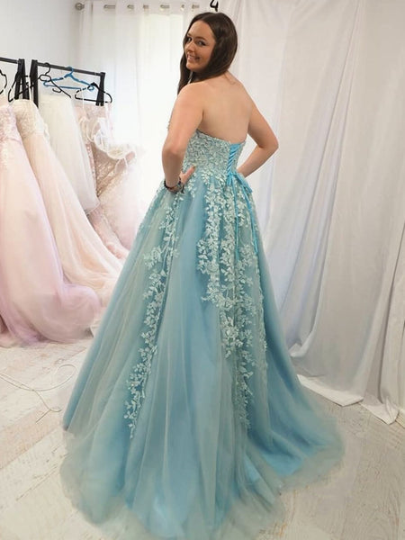 Strapless Light Blue Lace Prom Dresses, Ice Blue Lace Formal Evening Dresses
