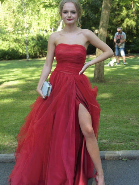 Strapless Red Tulle Long Prom Dresses, Red Tulle Long Formal Evening Dresses