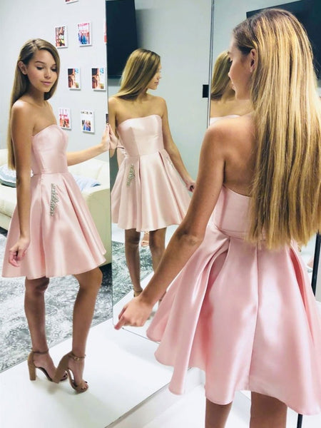 Strapless Short Pink Satin Prom Dresses with Pockets, Short Pink Formal Graduation Homecoming Dresses