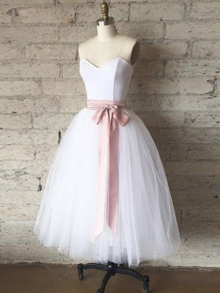 Strapless Sweetheart Neck Short White Prom Dresses, Short White Formal Graduation Dresses