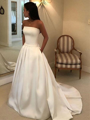 Strapless White Satin Wedding Dresses, White Satin Long Formal Prom Dresses