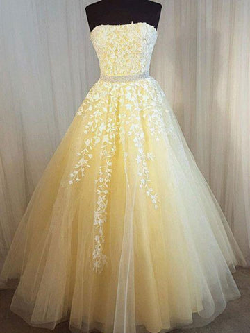 Strapless Yellow Lace Long Prom Dresses, Strapless Long Yellow Lace Formal Evening Dresses