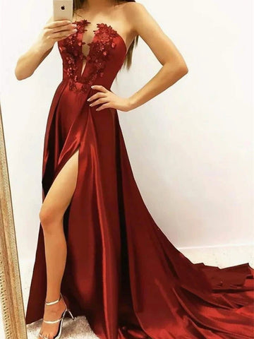 Strapless Appliques Burgundy Satin Prom Dress with High Slit, Wine Red Satin Formal Evening Dresses