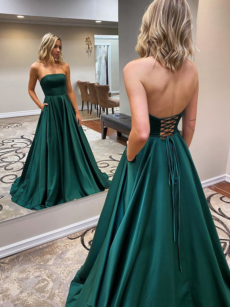 Long Prom Dresses, Emerald Green
