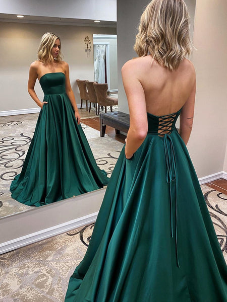 Strapless Emerald Green Long Prom Dresses, Emerald Green Long Formal Evening Dresses