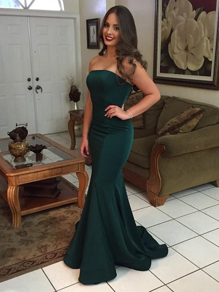 Strapless Emerald Green Mermaid Prom Dresses, Dark Green
