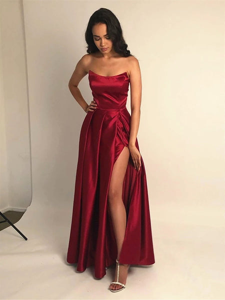 Strapless Navy Blue/Burgundy Prom Dress with Leg Slit, Navy Blue/ Wine Red Formal Evening Bridesmaid Dresses