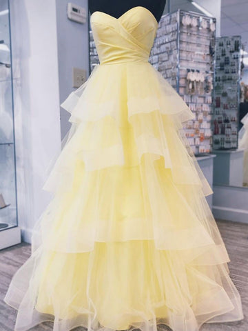 Sweethart Neck Floor Length Yellow Puffy Prom Dresses, Yellow Floor Length Puffy Formal Graduation Evening Dresses