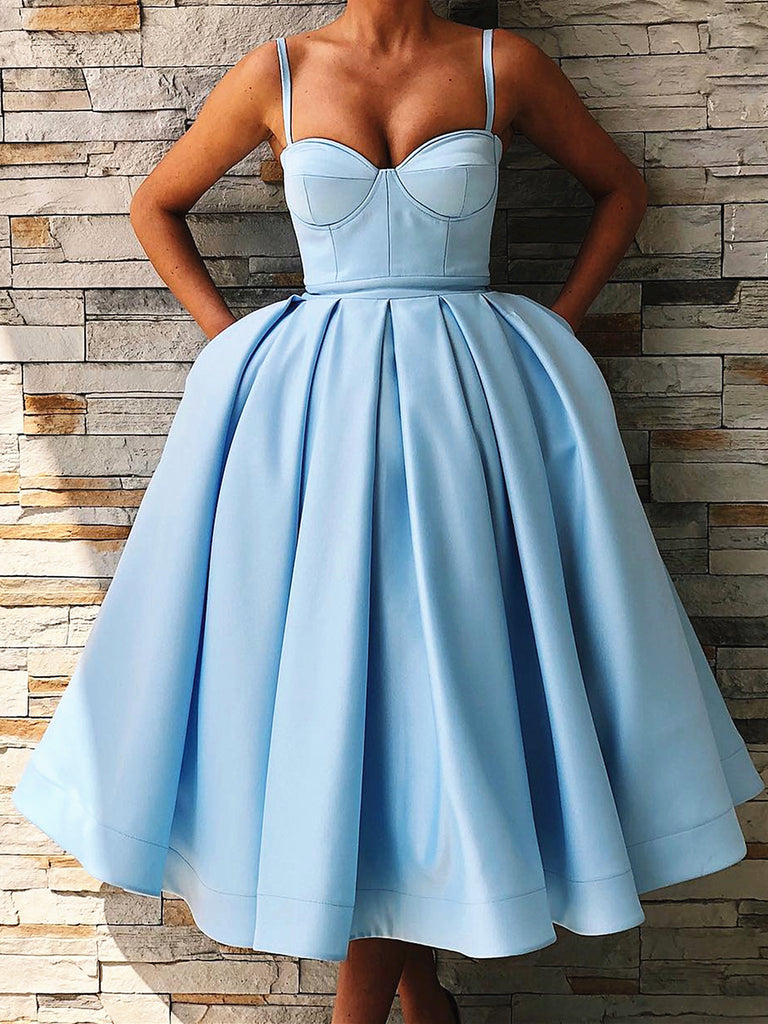 Sweethart Neck Tea Length Blue Prom Dresses, Tea Length Blue Formal Gowns, Blue Graduation Homecoming Dresses