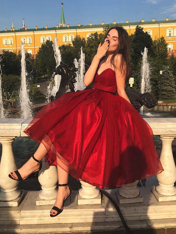 Sweethear Neck Short Burgundy Prom Dresses, Short Burgundy Formal Graduation Homecoming Dresses