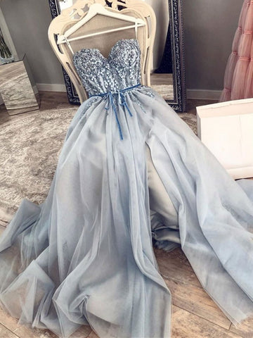 Sweetheart Neck Blue Beaded Long Prom Dresses, Blue Beaded Long Formal Evening Dresses
