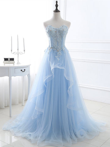Sweetheart Neck Blue Lace Prom Dresses, Light Blue Lace Formal Evening Dresses